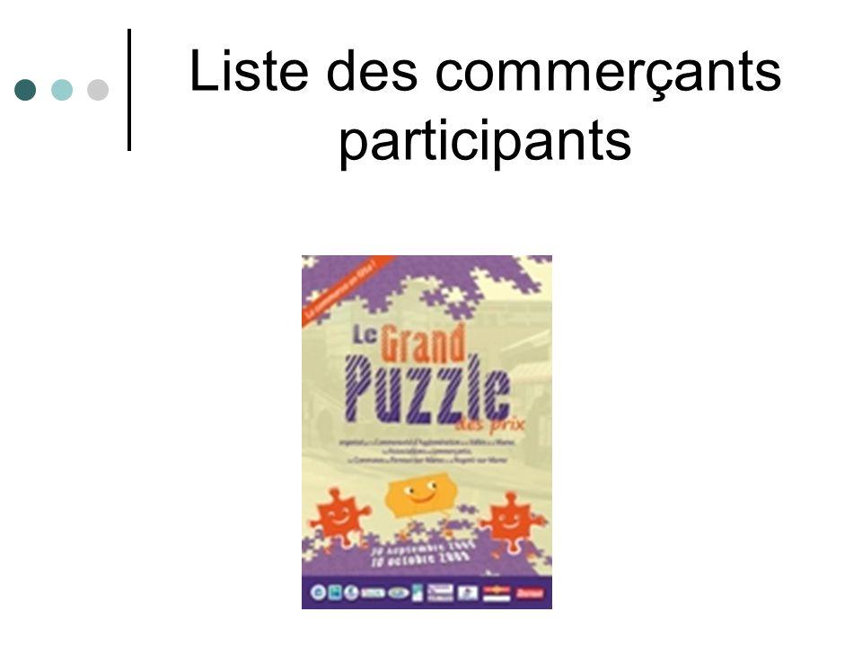 Liste des commerçants participants