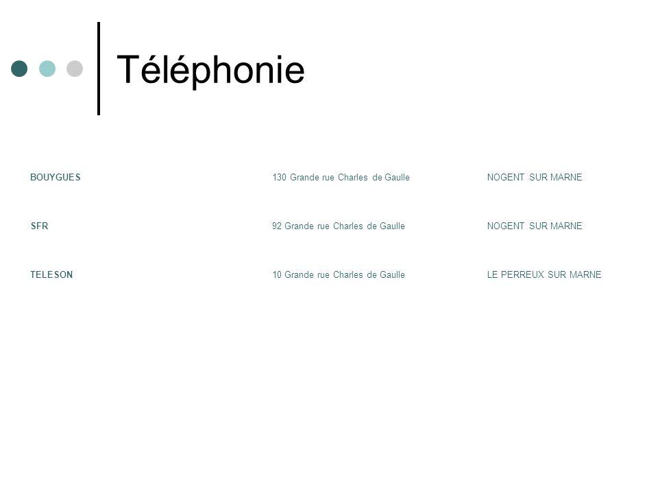 Téléphonie BOUYGUES130 Grande rue Charles de GaulleNOGENT SUR MARNE SFR92 Grande rue Charles de GaulleNOGENT SUR MARNE TELESON10 Grande rue Charles de GaulleLE PERREUX SUR MARNE
