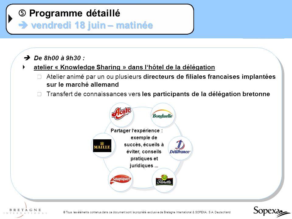 © Tous les éléments contenus dans ce document sont la propriété exclusive de Bretagne International & SOPEXA, S.A. Deutschland vendredi 18 juin – mati