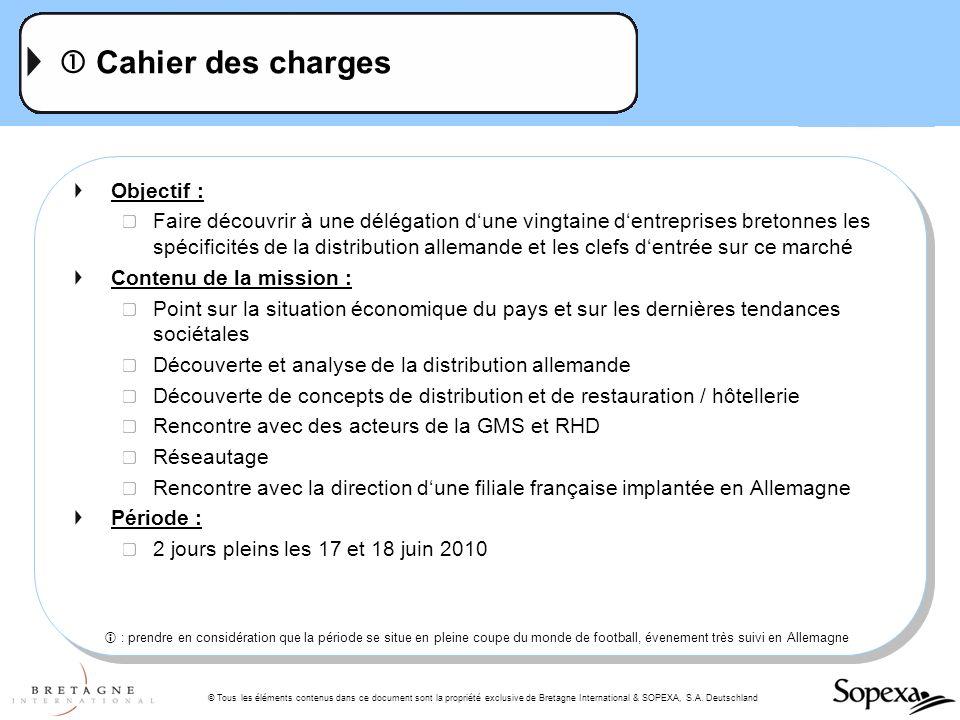 © Tous les éléments contenus dans ce document sont la propriété exclusive de Bretagne International & SOPEXA, S.A. Deutschland Cahier des charges Obje