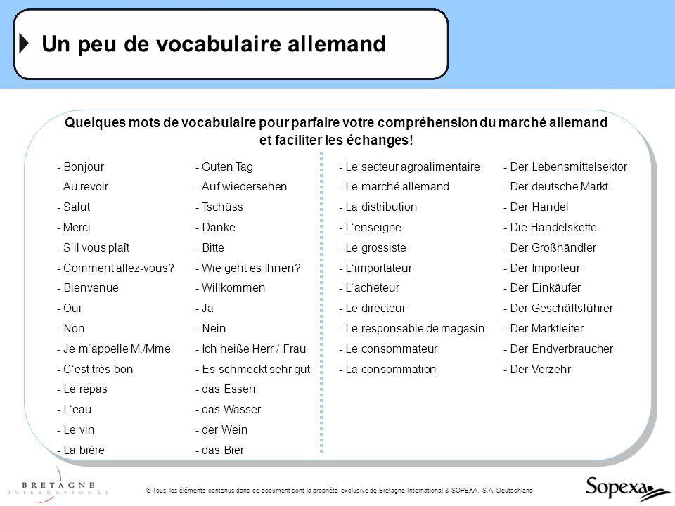 © Tous les éléments contenus dans ce document sont la propriété exclusive de Bretagne International & SOPEXA, S.A. Deutschland Un peu de vocabulaire a