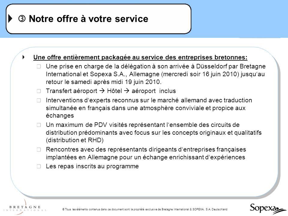 © Tous les éléments contenus dans ce document sont la propriété exclusive de Bretagne International & SOPEXA, S.A. Deutschland Notre offre à votre ser