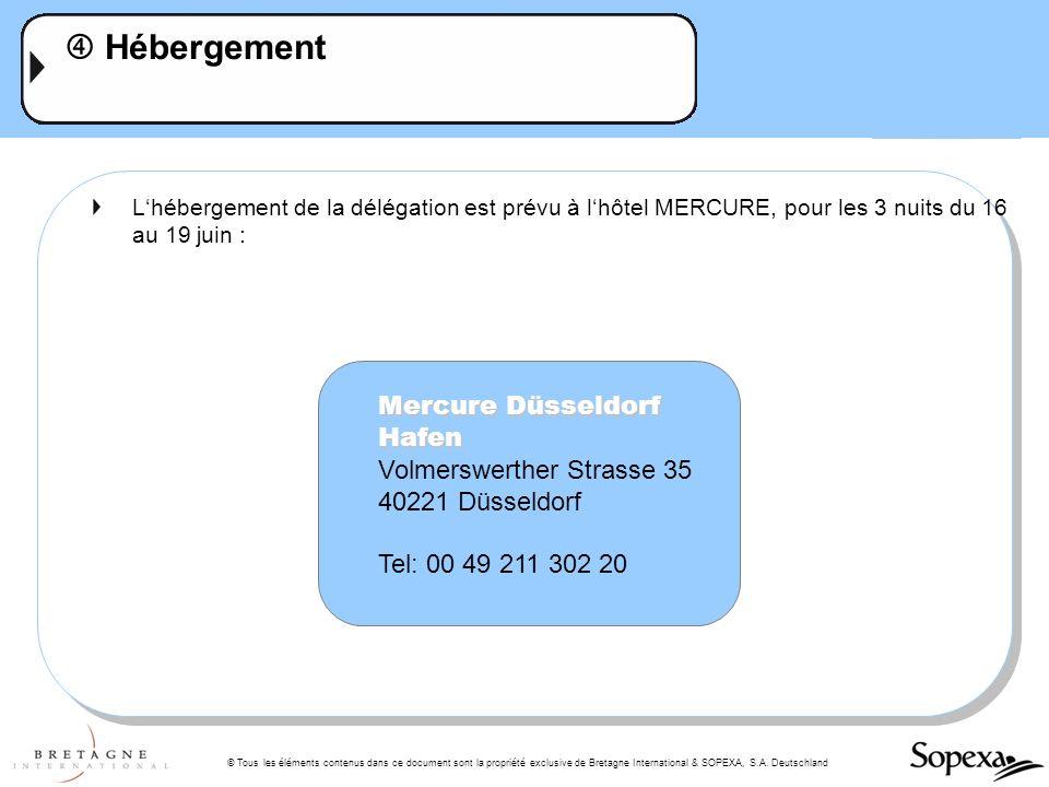 © Tous les éléments contenus dans ce document sont la propriété exclusive de Bretagne International & SOPEXA, S.A. Deutschland Hébergement Lhébergemen