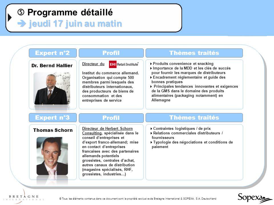 © Tous les éléments contenus dans ce document sont la propriété exclusive de Bretagne International & SOPEXA, S.A. Deutschland jeudi 17 juin au matin