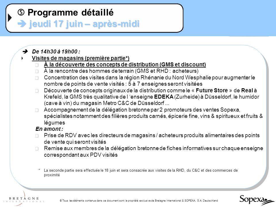 © Tous les éléments contenus dans ce document sont la propriété exclusive de Bretagne International & SOPEXA, S.A. Deutschland jeudi 17 juin – après-m