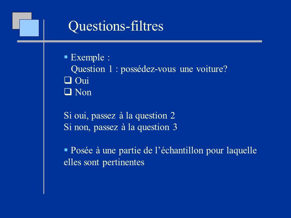 Questions-filtres Exemple : Question 1 : possédez-vous une voiture? Oui Non Si oui, passez à la question 2 Si non, passez à la question 3 Posée à une