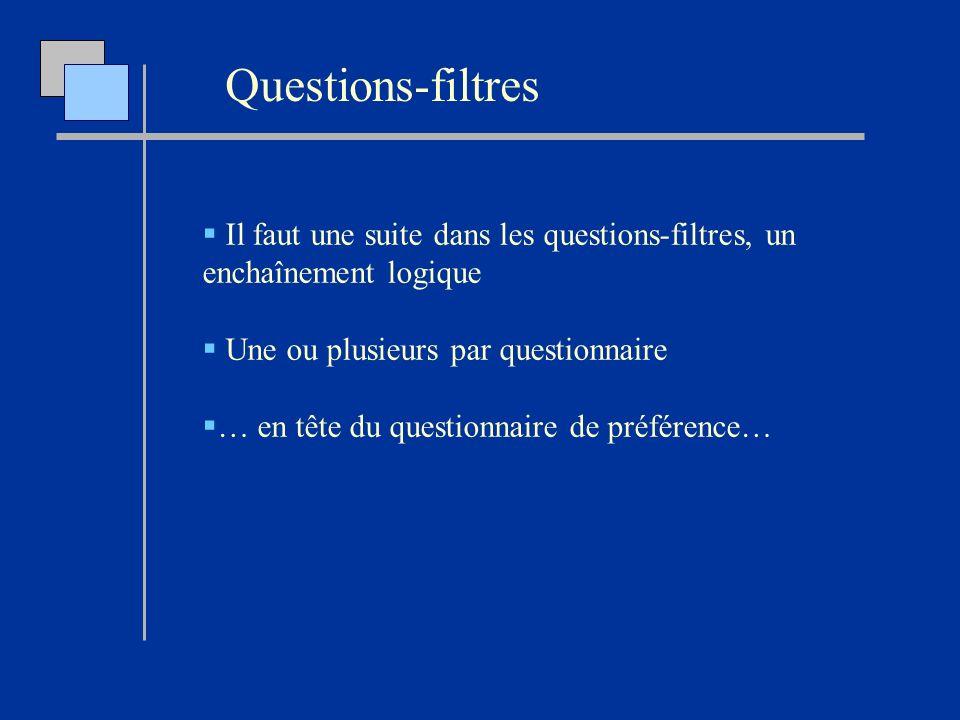 Questions-filtres Il faut une suite dans les questions-filtres, un enchaînement logique Une ou plusieurs par questionnaire … en tête du questionnaire