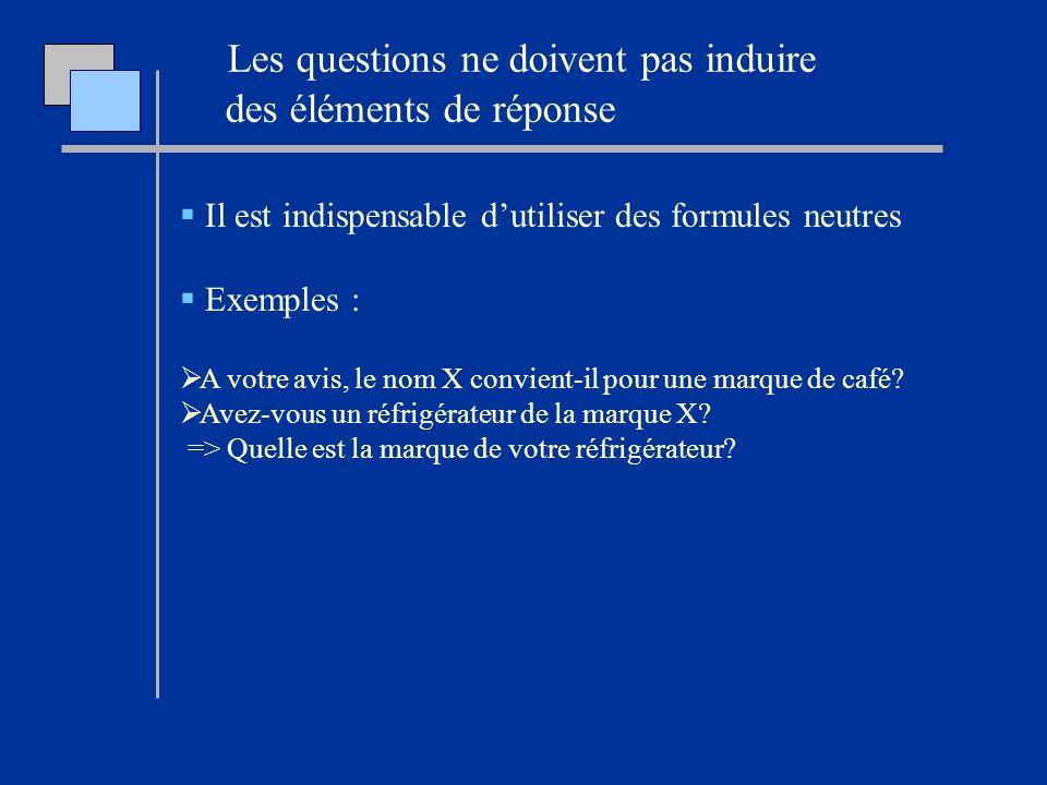 Les questions ne doivent pas induire des éléments de réponse Il est indispensable dutiliser des formules neutres Exemples : A votre avis, le nom X con