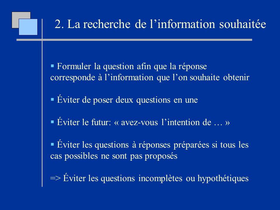 Formuler la question afin que la réponse corresponde à linformation que lon souhaite obtenir Éviter de poser deux questions en une Éviter le futur: «