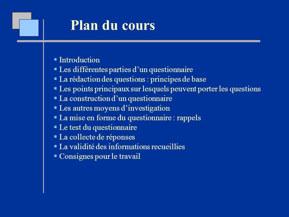 Plan du cours Introduction Les différentes parties dun questionnaire La rédaction des questions : principes de base Les points principaux sur lesquels