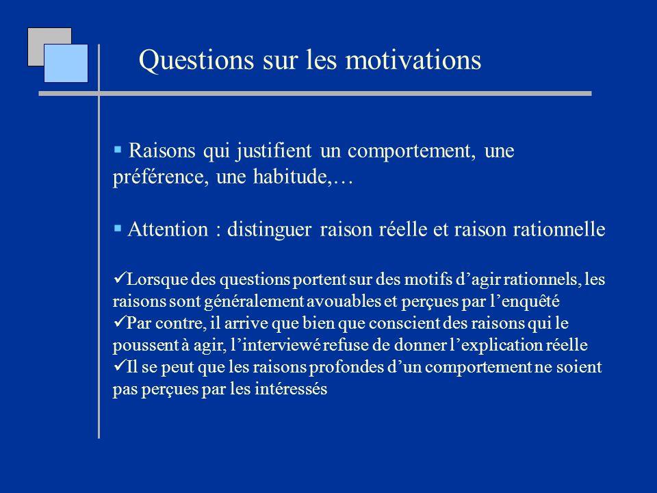 Raisons qui justifient un comportement, une préférence, une habitude,… Attention : distinguer raison réelle et raison rationnelle Lorsque des question