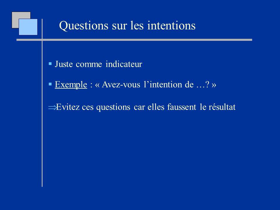 Juste comme indicateur Exemple : « Avez-vous lintention de …? » Evitez ces questions car elles faussent le résultat Questions sur les intentions