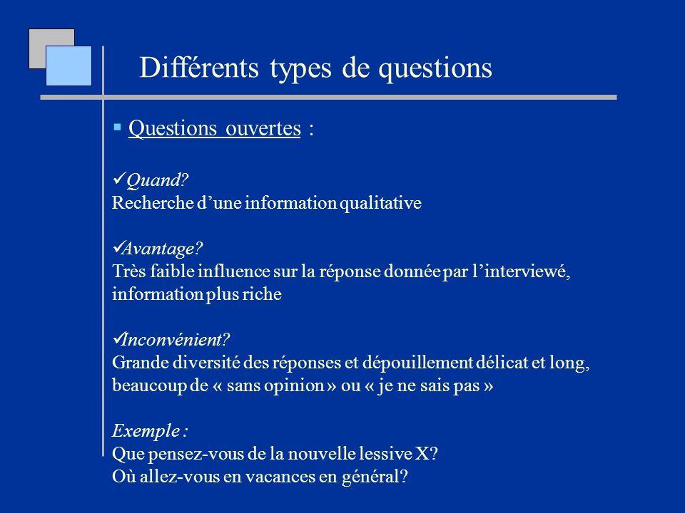 Questions ouvertes : Quand? Recherche dune information qualitative Avantage? Très faible influence sur la réponse donnée par linterviewé, information
