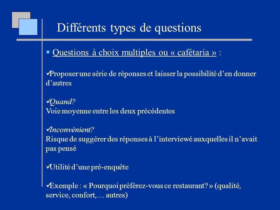 Questions à choix multiples ou « cafétaria » : Proposer une série de réponses et laisser la possibilité den donner dautres Quand? Voie moyenne entre l