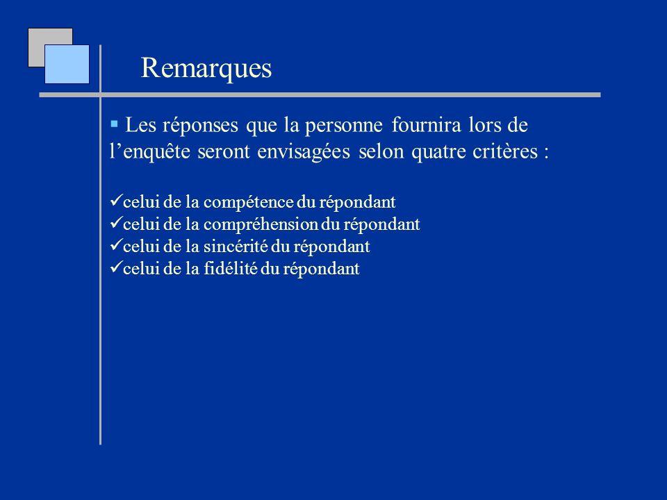 Les réponses que la personne fournira lors de lenquête seront envisagées selon quatre critères : celui de la compétence du répondant celui de la compr