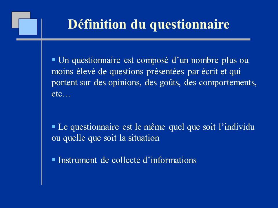 Définition du questionnaire Un questionnaire est composé dun nombre plus ou moins élevé de questions présentées par écrit et qui portent sur des opini
