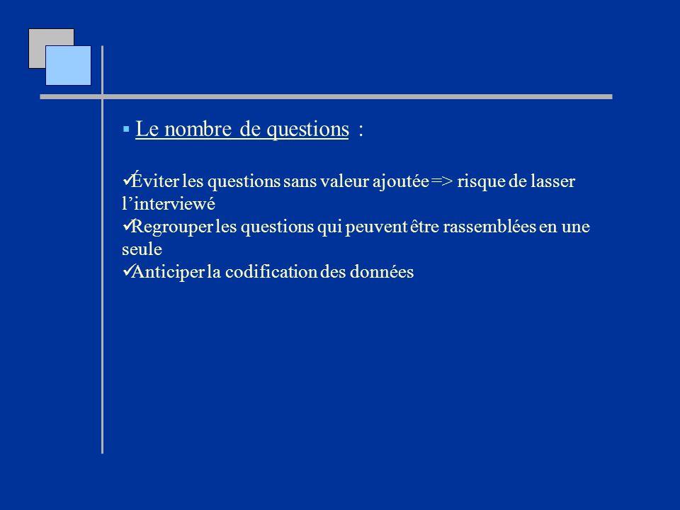 Le nombre de questions : Éviter les questions sans valeur ajoutée => risque de lasser linterviewé Regrouper les questions qui peuvent être rassemblées