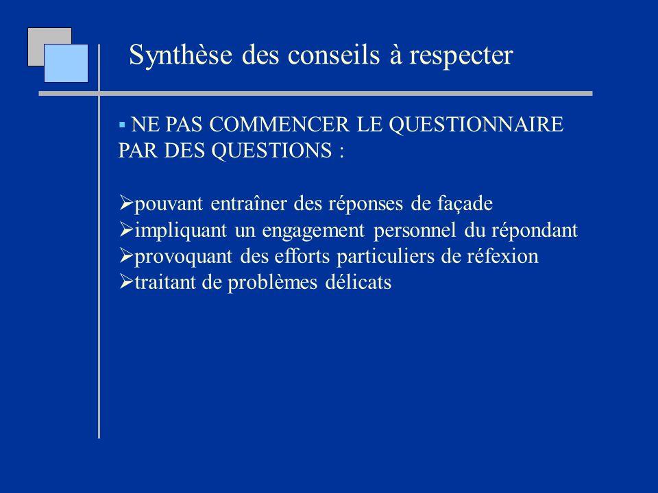 NE PAS COMMENCER LE QUESTIONNAIRE PAR DES QUESTIONS : pouvant entraîner des réponses de façade impliquant un engagement personnel du répondant provoqu