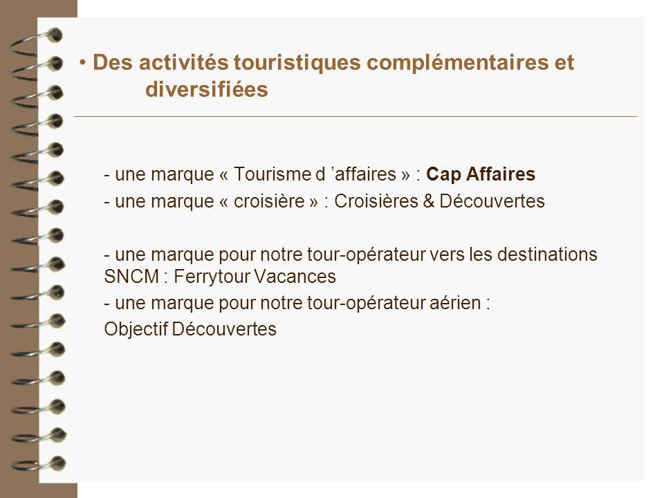 Des activités touristiques complémentaires et diversifiées - une marque « Tourisme d affaires » : Cap Affaires - une marque « croisière » : Croisières