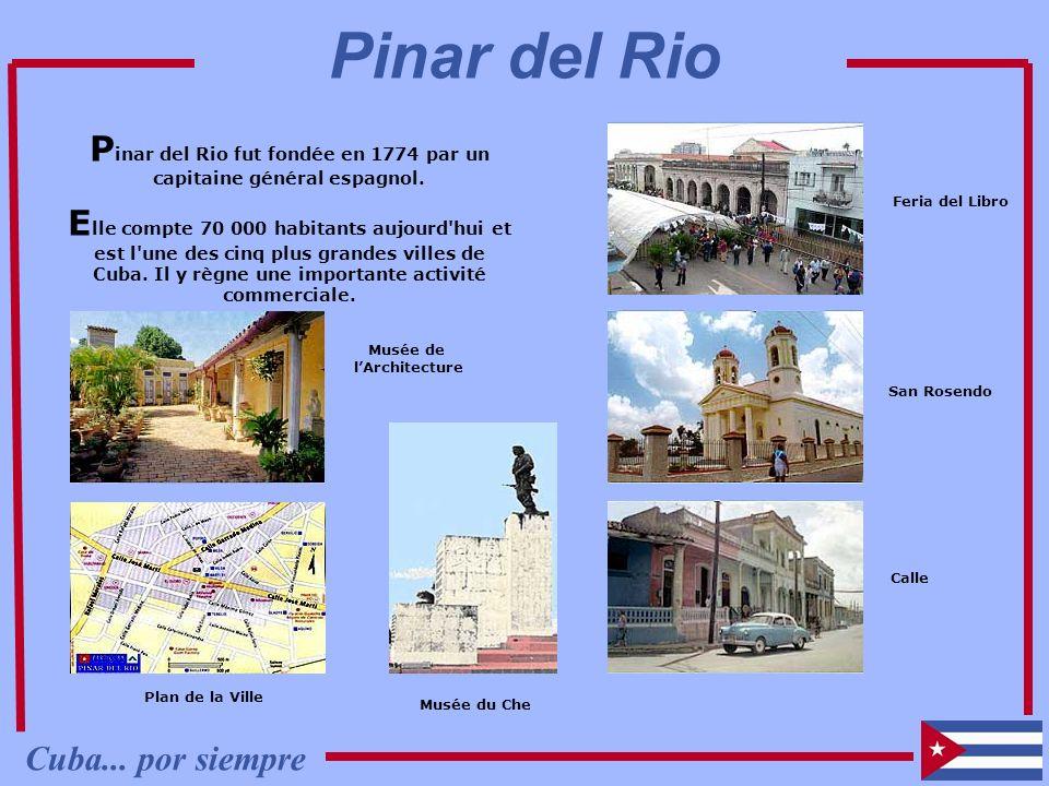 P inar del Rio fut fondée en 1774 par un capitaine général espagnol. E lle compte 70 000 habitants aujourd'hui et est l'une des cinq plus grandes vill