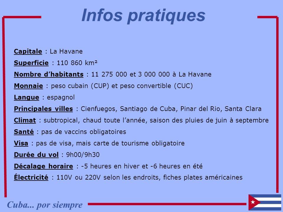 Capitale : La Havane Superficie : 110 860 km² Nombre dhabitants : 11 275 000 et 3 000 000 à La Havane Monnaie : peso cubain (CUP) et peso convertible