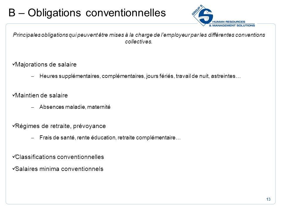13 Principales obligations qui peuvent être mises à la charge de lemployeur par les différentes conventions collectives. Majorations de salaire Heures