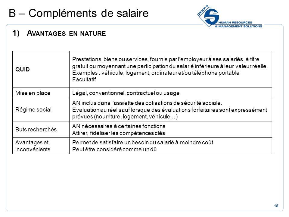 18 1)A VANTAGES EN NATURE B – Compléments de salaire QUID Prestations, biens ou services, fournis par lemployeur à ses salariés, à titre gratuit ou mo