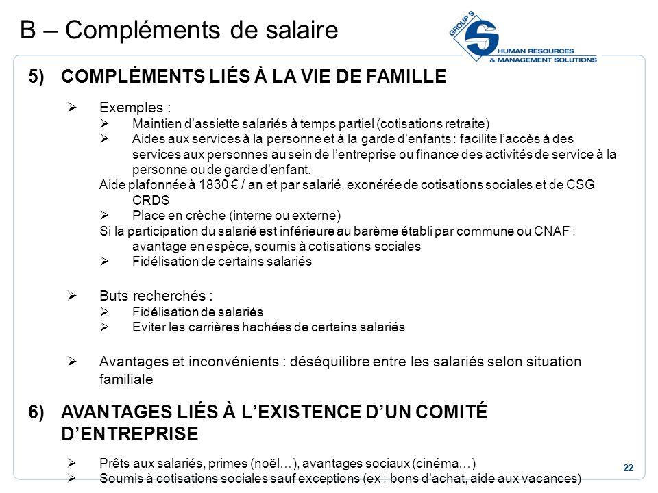 22 5)COMPLÉMENTS LIÉS À LA VIE DE FAMILLE Exemples : Maintien dassiette salariés à temps partiel (cotisations retraite) Aides aux services à la person