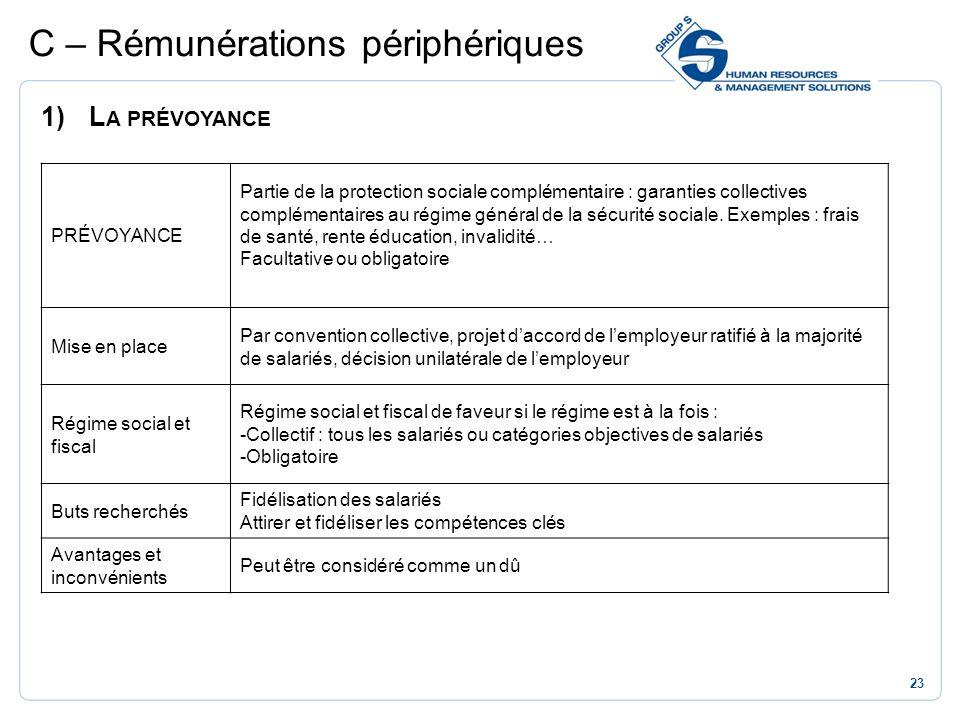 23 C – Rémunérations périphériques 1)L A PRÉVOYANCE PRÉVOYANCE Partie de la protection sociale complémentaire : garanties collectives complémentaires