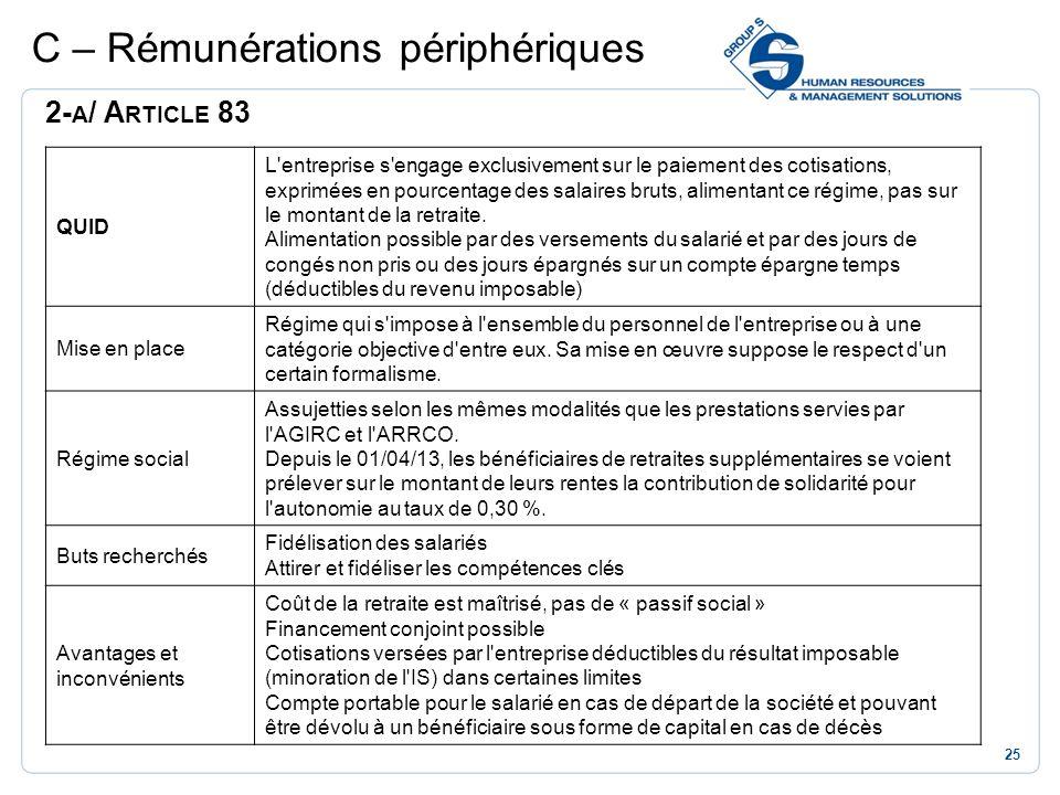 25 C – Rémunérations périphériques 2- A / A RTICLE 83 QUID L'entreprise s'engage exclusivement sur le paiement des cotisations, exprimées en pourcenta