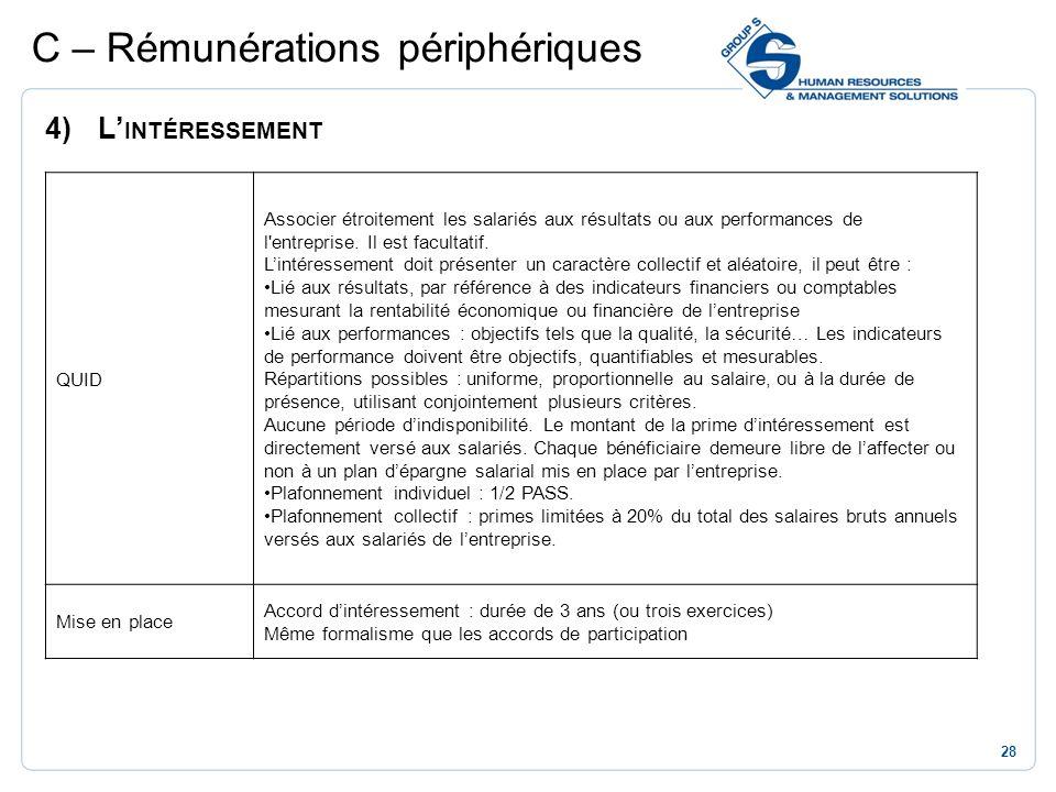 28 C – Rémunérations périphériques 4)L INTÉRESSEMENT QUID Associer étroitement les salariés aux résultats ou aux performances de l'entreprise. Il est