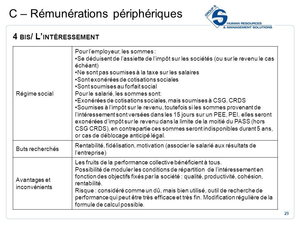 29 C – Rémunérations périphériques 4 BIS / L INTÉRESSEMENT Régime social Pour lemployeur, les sommes : Se déduisent de lassiette de limpôt sur les soc