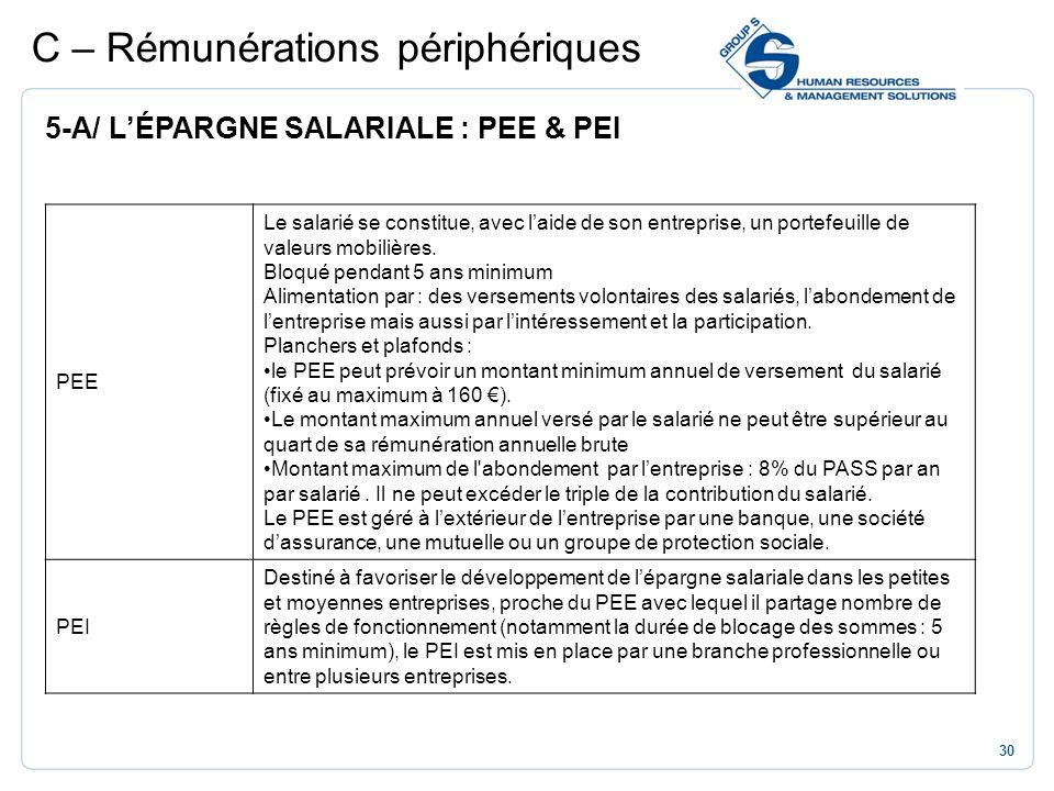 30 C – Rémunérations périphériques 5-A/ LÉPARGNE SALARIALE : PEE & PEI PEE Le salarié se constitue, avec laide de son entreprise, un portefeuille de v