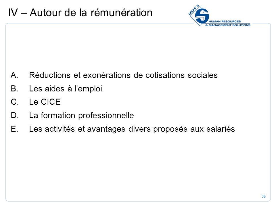 36 A.Réductions et exonérations de cotisations sociales B.Les aides à lemploi C.Le CICE D.La formation professionnelle E.Les activités et avantages di