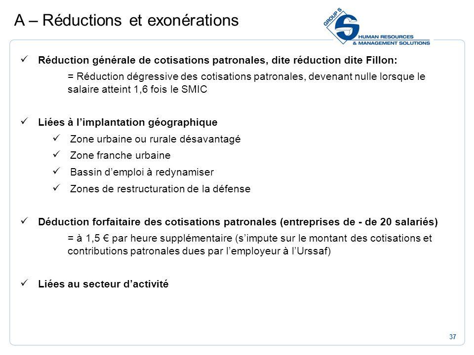 37 Réduction générale de cotisations patronales, dite réduction dite Fillon: = Réduction dégressive des cotisations patronales, devenant nulle lorsque
