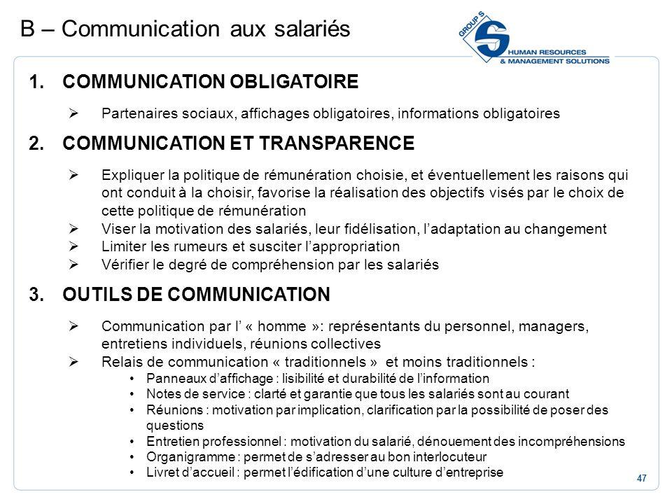 47 1.COMMUNICATION OBLIGATOIRE Partenaires sociaux, affichages obligatoires, informations obligatoires 2.COMMUNICATION ET TRANSPARENCE Expliquer la po