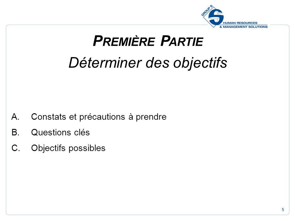 5 P REMIÈRE P ARTIE Déterminer des objectifs A.Constats et précautions à prendre B.Questions clés C.Objectifs possibles