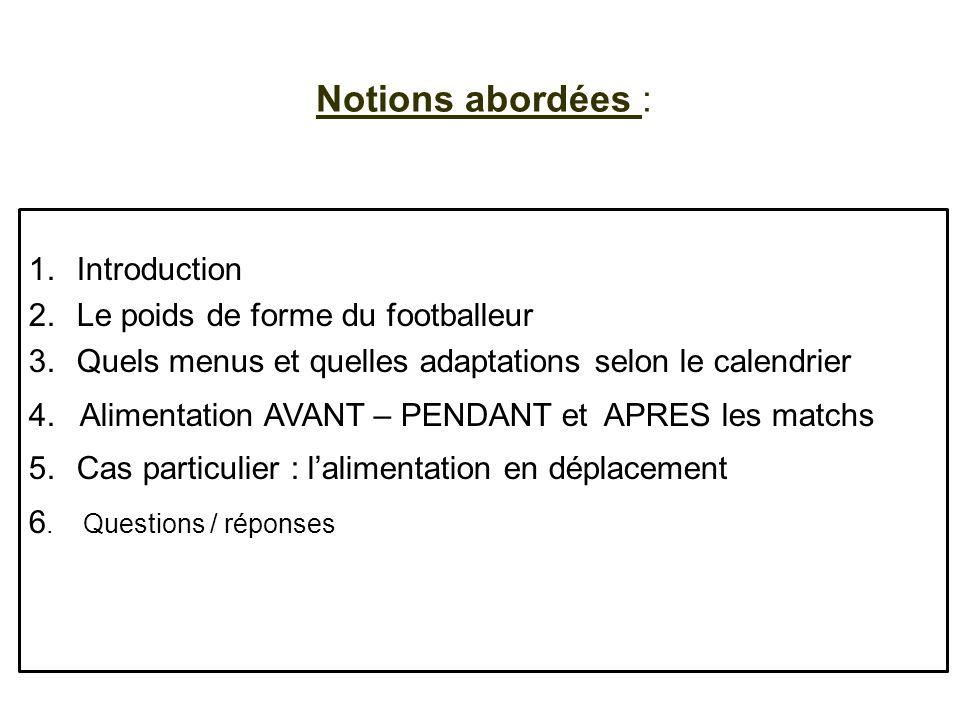 Notions abordées : 1.Introduction 2.Le poids de forme du footballeur 3.Quels menus et quelles adaptations selon le calendrier 4. Alimentation AVANT –