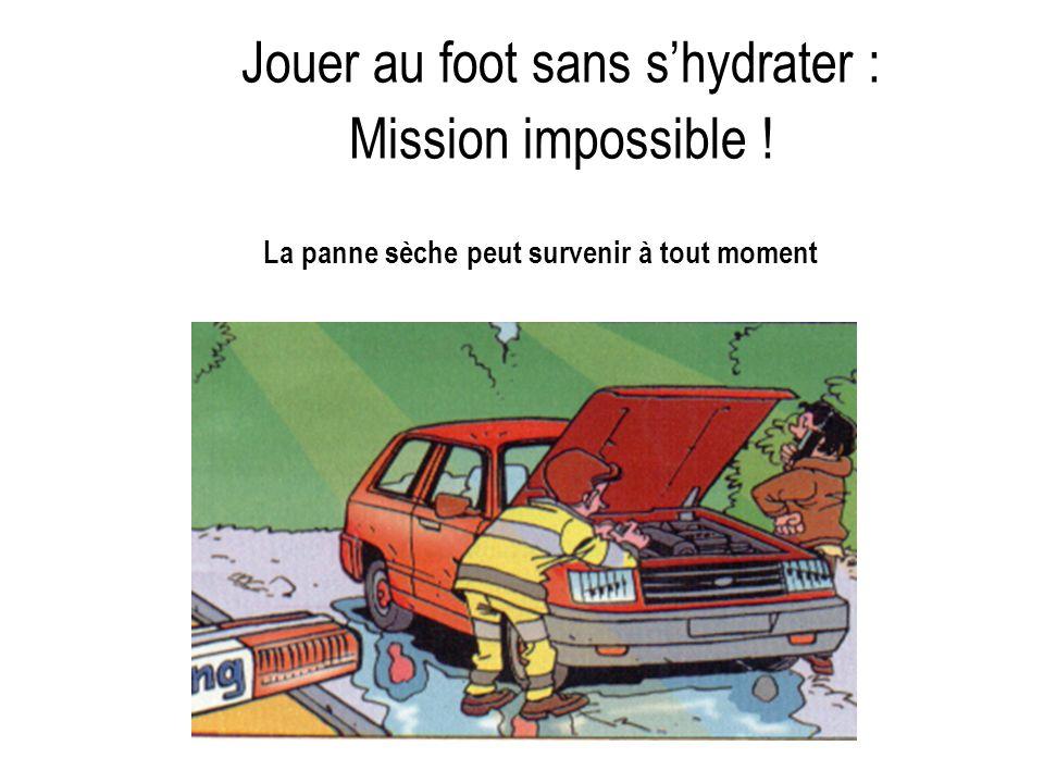 La panne sèche peut survenir à tout moment Jouer au foot sans shydrater : Mission impossible !