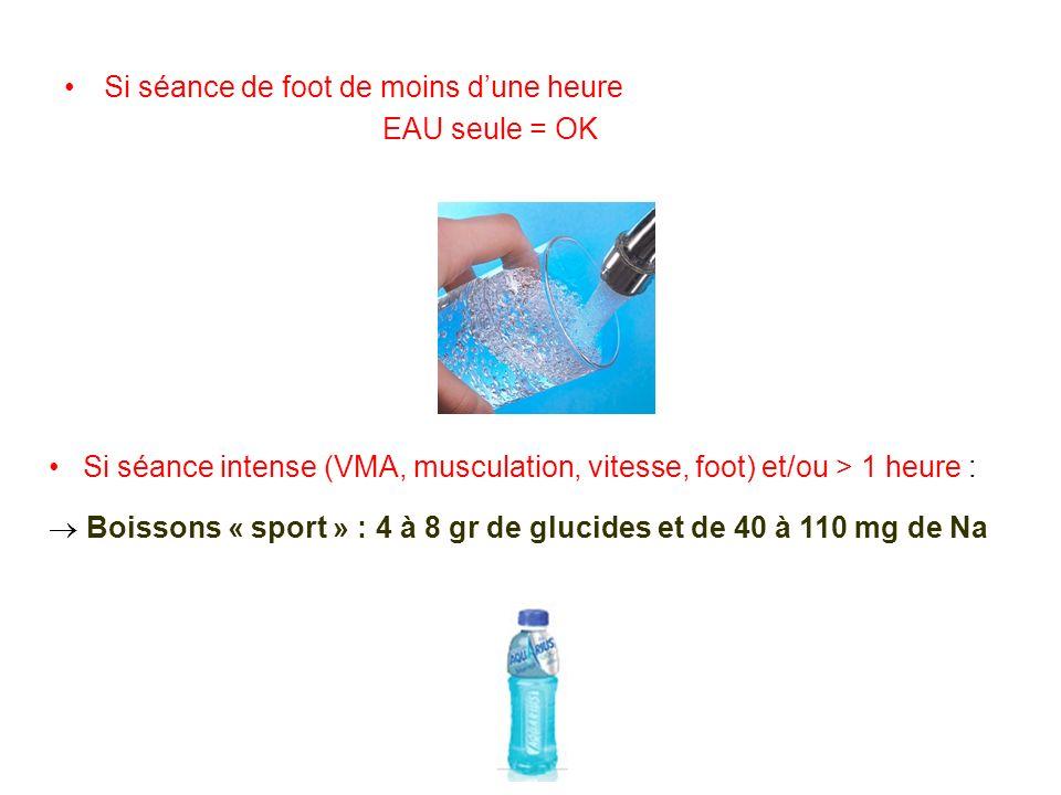 Si séance de foot de moins dune heure EAU seule = OK Si séance intense (VMA, musculation, vitesse, foot) et/ou > 1 heure : Boissons « sport » : 4 à 8