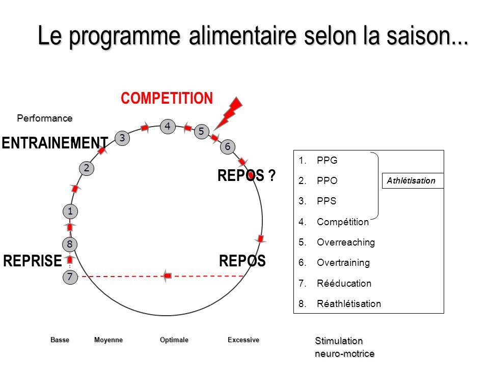 Le programme alimentaire selon la saison... 7 1 2 3 4 6 8 5Performance Stimulationneuro-motrice BasseMoyenne Optimale Excessive 1.PPG 2.PPO 3.PPS 4.Co