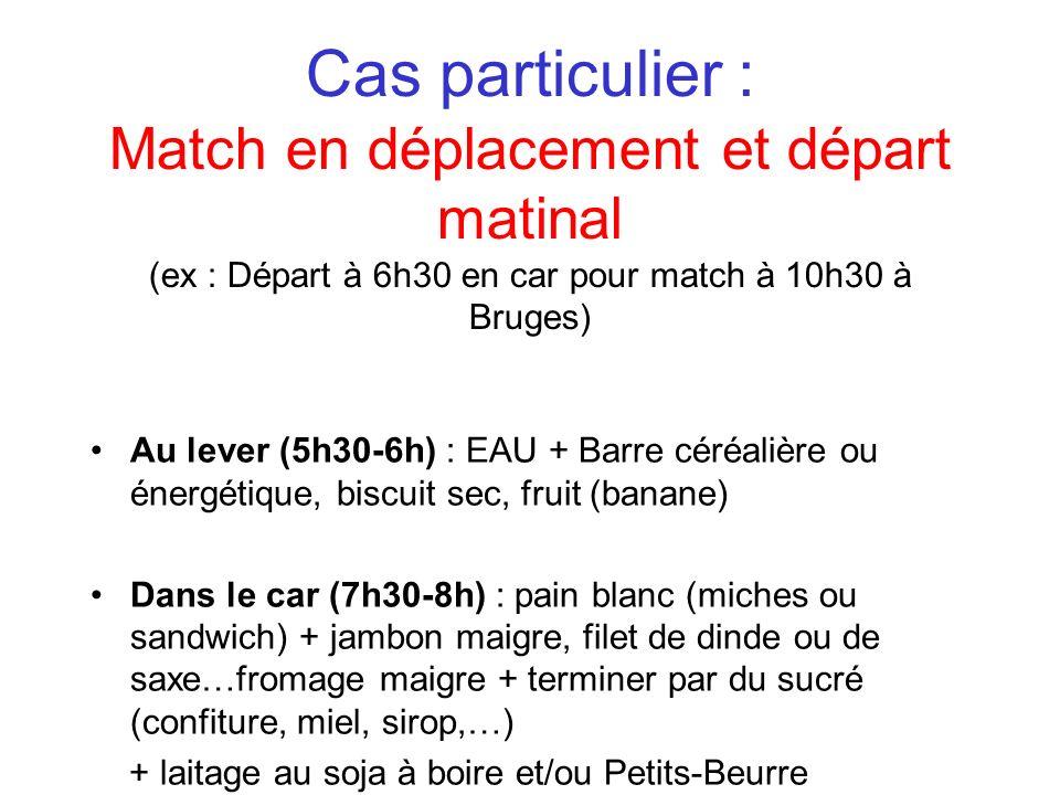 Cas particulier : Match en déplacement et départ matinal (ex : Départ à 6h30 en car pour match à 10h30 à Bruges) Au lever (5h30-6h) : EAU + Barre céré
