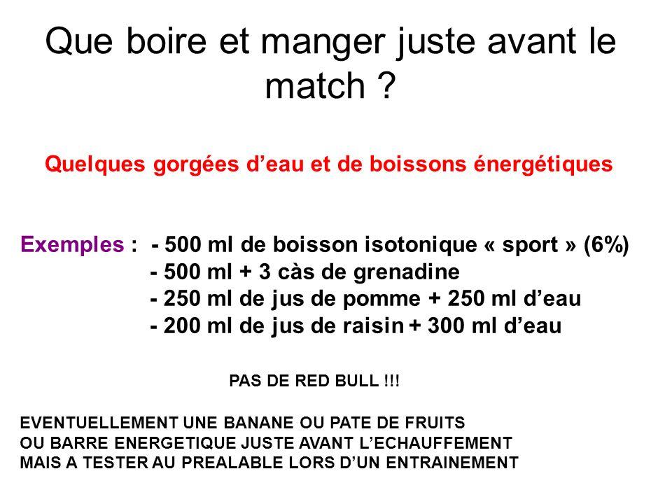 Que boire et manger juste avant le match ? Quelques gorgées deau et de boissons énergétiques Exemples : - 500 ml de boisson isotonique « sport » (6%)