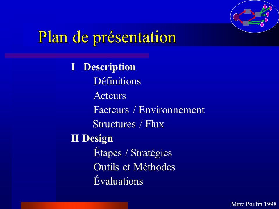 Plan de présentation I Description Définitions Acteurs Facteurs / Environnement Structures / Flux II Design Étapes / Stratégies Outils et Méthodes Éva