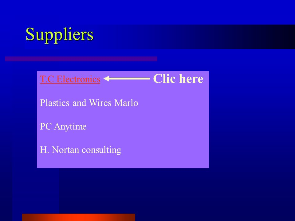 Suppliers T.C Electronics Plastics and Wires Marlo PC Anytime H. Nortan consulting Clic here