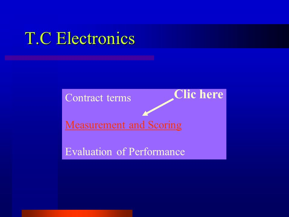 T.C Electronics Contract terms Measurement and Scoring Evaluation of Performance Clic here