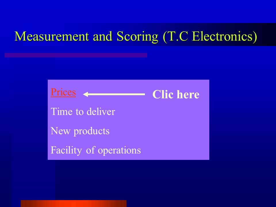 Measurement and Scoring (T.C Electronics) Prices Time to deliver New products Facility of operations Clic here