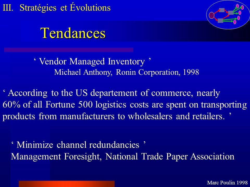 Tendances III. Stratégies et Évolutions Marc Poulin 1998 Vendor Managed Inventory Michael Anthony, Ronin Corporation, 1998 According to the US departe