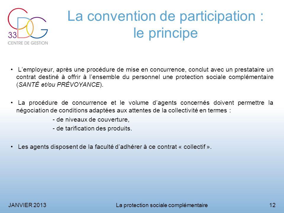 JANVIER 2013La protection sociale complémentaire12 La convention de participation : le principe Lemployeur, après une procédure de mise en concurrence, conclut avec un prestataire un contrat destiné à offrir à lensemble du personnel une protection sociale complémentaire (SANTÉ et/ou PRÉVOYANCE).