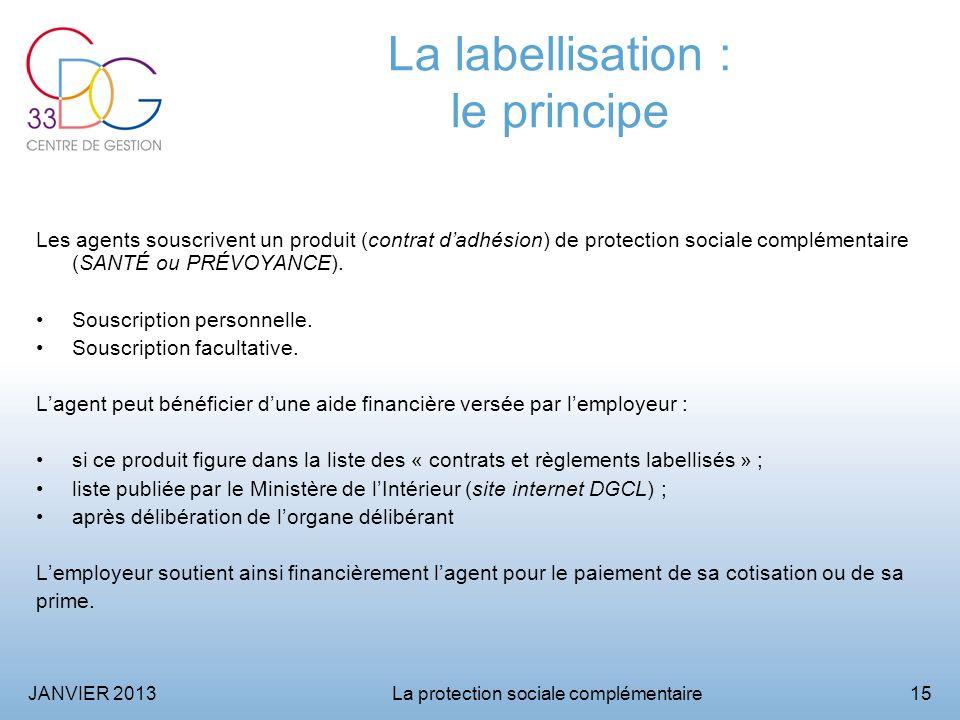 JANVIER 2013La protection sociale complémentaire15 La labellisation : le principe Les agents souscrivent un produit (contrat dadhésion) de protection sociale complémentaire (SANTÉ ou PRÉVOYANCE).